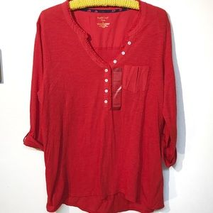 NorthCrest red blouse NWT size large